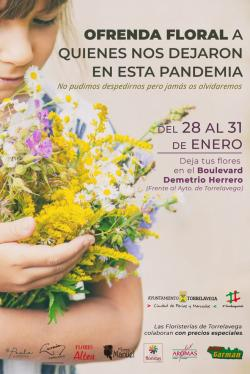 Una ofrenda floral a los fallecidos en la pandemia cierra los actos del 125 aniversario de Torrelavega